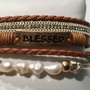 """Jewelry - Faux Leather """"Blessed"""" Bar Bracelet"""